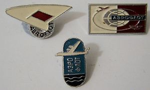 Original Russian Pin Badges - Aeroflot Official Badges x 3